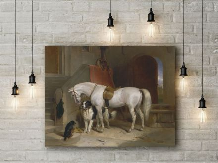 Sir Edwin Landseer: Favourites, the Property of H.R.H. Prince George of Cambridge. Fine Art Canvas.
